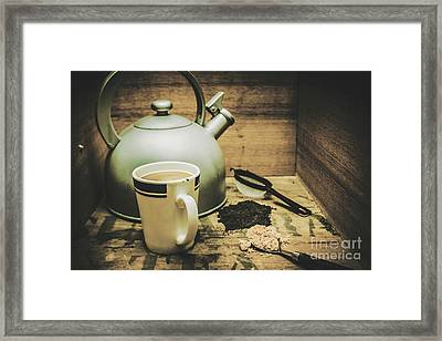 Retro Vintage Toned Tea Still Life In Crate Framed Print by Jorgo Photography - Wall Art Gallery