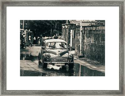 Retromobile. Morris Minor. Vintage Monochrome Framed Print by Jenny Rainbow