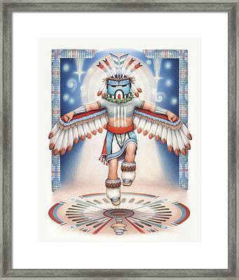 Return Of The Blue Star Kachina Framed Print by Amy S Turner