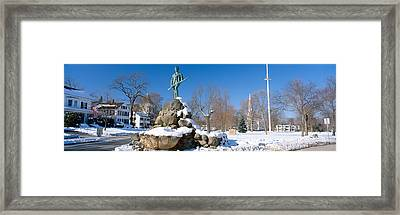 Revolutionary War Memorial In Winter Framed Print by Panoramic Images