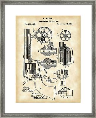 Revolving Fire Arm Patent 1875 - Vintage Framed Print by Stephen Younts