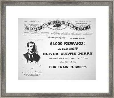 Reward Poster For The Arrest Of Oliver Perry Issued  Framed Print by American School