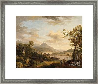 Rhine Landscape With A Rambler Framed Print by Celestial Images