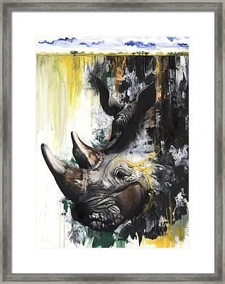 Rhino II Framed Print by Anthony Burks Sr