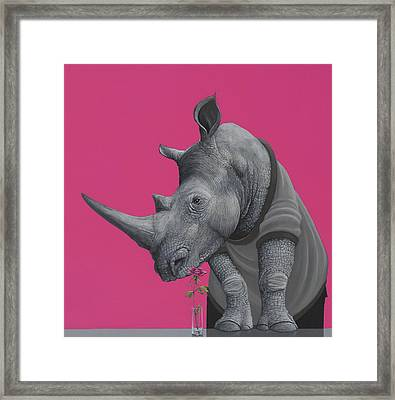 Rhino Framed Print by Jasper Oostland