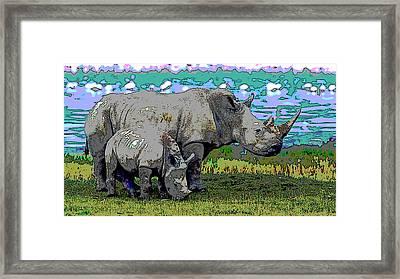 Rhinoceros Framed Print by Charles Shoup