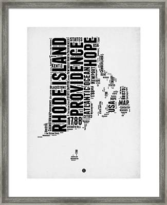 Rhode Island Word Cloud 1 Framed Print by Naxart Studio