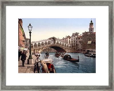 Rialto Bridge, Venice, Italy Framed Print by Italian School