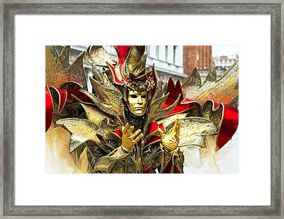 Ribbon Man 2015 Carnevale Di Venezia Italia Framed Print by Sally Rockefeller