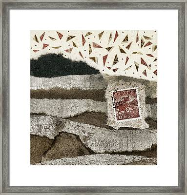 Rice Paddies Collage Framed Print by Carol Leigh