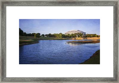 Richard Greene Linear Park And Att Stadium Framed Print by Joan Carroll