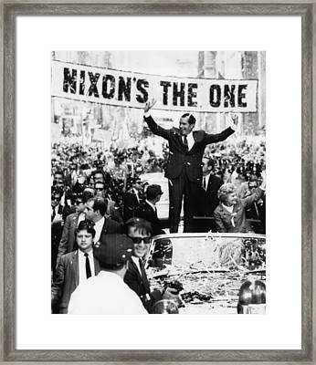 Richard Nixon. Us Presidential Framed Print by Everett