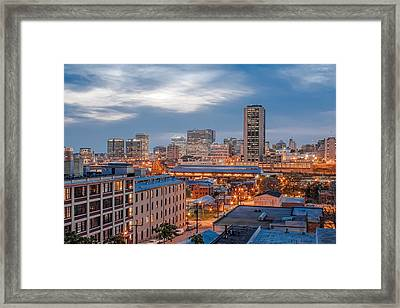 Richmond Skyline At Night Framed Print by Tim Wilson