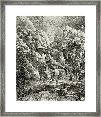 Rider In The Mountains Framed Print by Rodolphe Bresdin