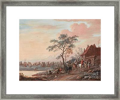 Riders At A Po Framed Print by Christoph Ludwig Agricola