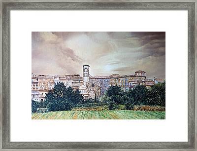Rieti Panoramic Framed Print by Michel Angelo Rossi