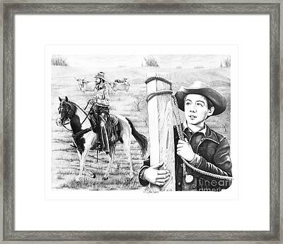 Cowboy Pencil Drawings Framed Print featuring the drawing Rifleman-mark-mccain by Murphy Elliott