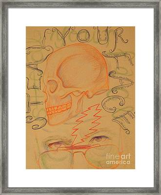 Right Off Your Head - Orange Framed Print by Meg Goff