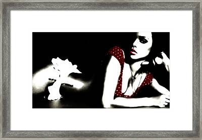 Rihanna In Red Framed Print by Brian Reaves