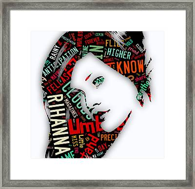 Rihanna Umbrella Lyrics Framed Print by Marvin Blaine