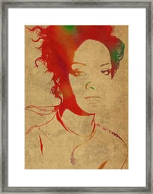 Rihanna Watercolor Portrait Framed Print by Design Turnpike