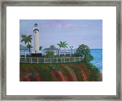 Rincon's Lighthouse Framed Print by Gloria E Barreto-Rodriguez