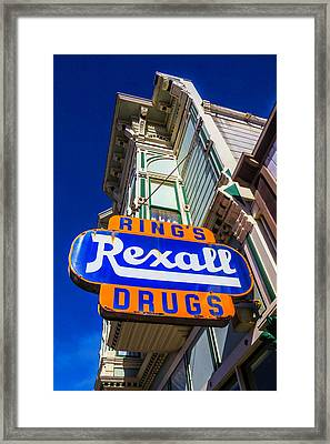 Rings Rexall Drugs Sign Framed Print by Garry Gay