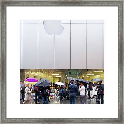 Rip Steve Jobs October 5 2011 San Francisco Apple Store Memorial Square Framed Print by Wingsdomain Art and Photography