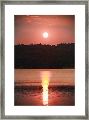Ripples Of Sunset Framed Print by Daphne Sampson