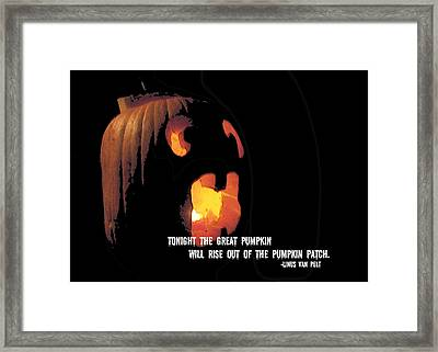 Rise Great Pumpkin Quote Framed Print by JAMART Photography