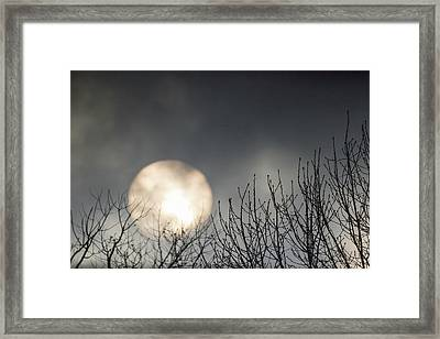 Rising Sun Moody Sky Gray Framed Print by Terry DeLuco