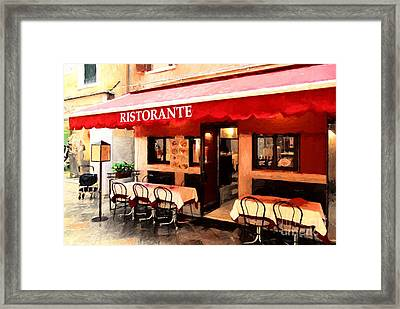 Ristorante In Venice Framed Print by Mel Steinhauer