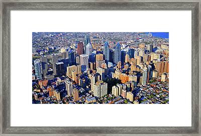 Rittenhouse Square Park And Philadelphia Skyline Framed Print by Duncan Pearson