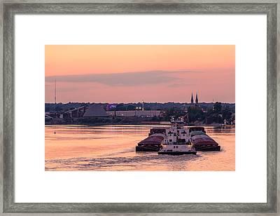 River Bend Barge Framed Print by Andrea Kappler