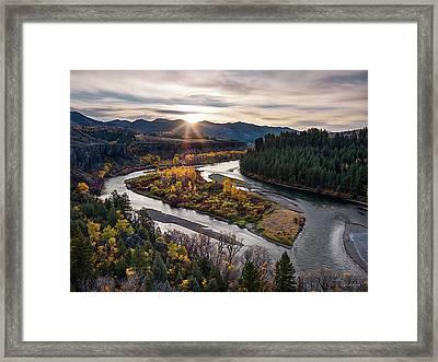 River Bend Sunrise Framed Print by Leland D Howard