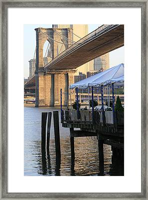 River Cafe With Brooklyn Bridge Framed Print by Christopher Kirby