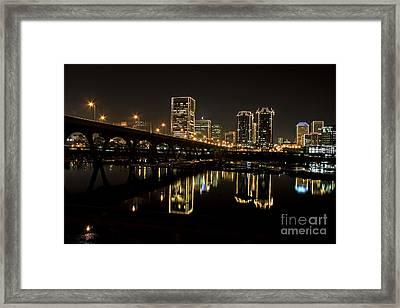 River City Lights At Night Framed Print by Tim Wilson