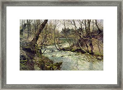 River Framed Print by Frits Thaulow