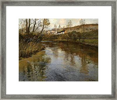 River Landscape Framed Print by Frits Thaulow