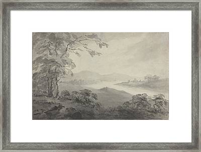 River Landscape With Ruins Framed Print by William Gilpin