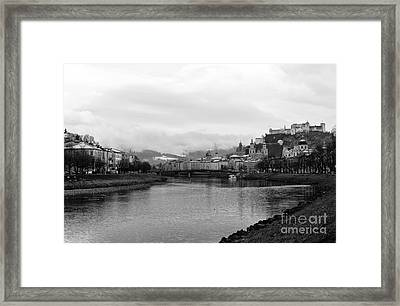 River Salzach View In Salzburg Framed Print by John Rizzuto