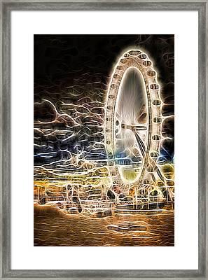 River Thames And The London Eye Neon Art Framed Print by John Williams