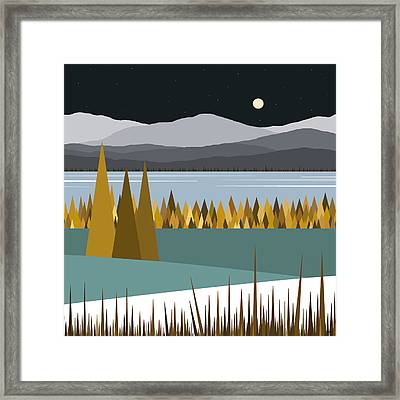 River Valley Winter Framed Print by Val Arie