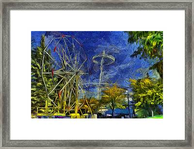 Riverfront Park - Pavilion And Ferris Wheel Framed Print by Mark Kiver