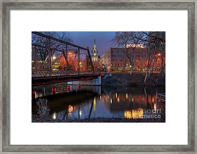 Riverplace Minneapolis Little Europe Framed Print by Wayne Moran