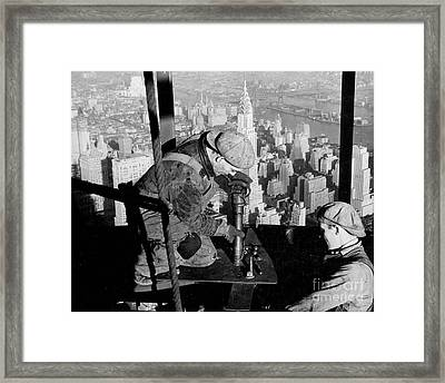 Riveters On The Empire State Building Framed Print by LW Hine