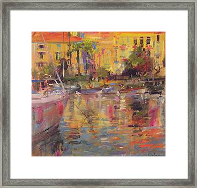 Riviera Moorings  Framed Print by Peter Graham