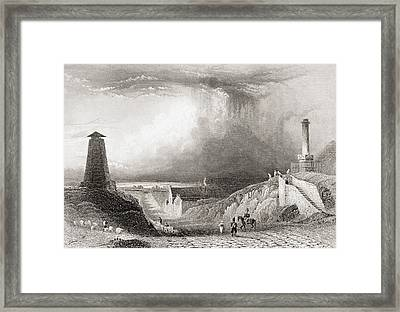 Road Across The Plain Of Waterloo Framed Print by Vintage Design Pics