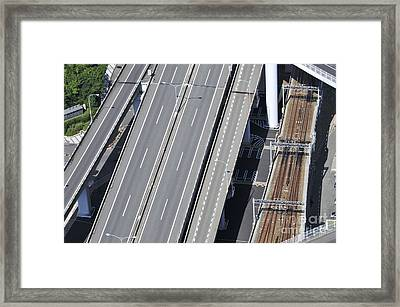 Road And Rail Intersection Framed Print by Andy Smy