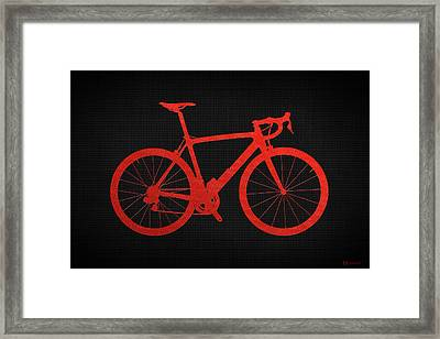 Road Bike Silhouette - Red On Black Canvas Framed Print by Serge Averbukh